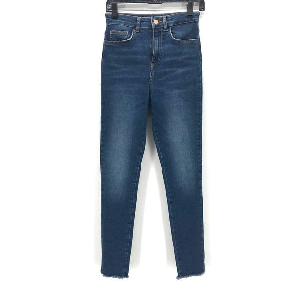 Zara High Rise Jean Sz 4 Blue Skinny Raw Hem Blue